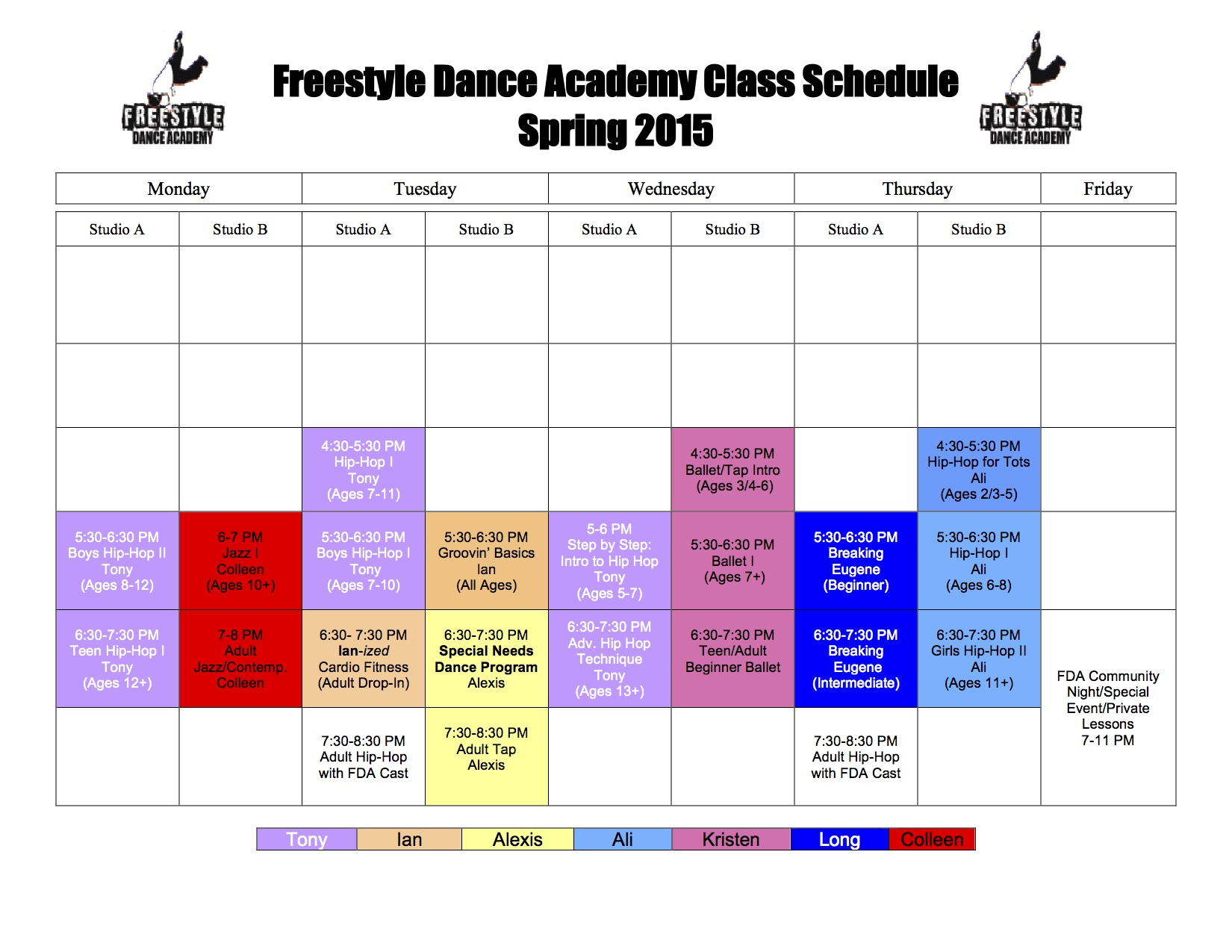 Dance Class Schedule for Spring 2015 at Freestyle Dance Academy