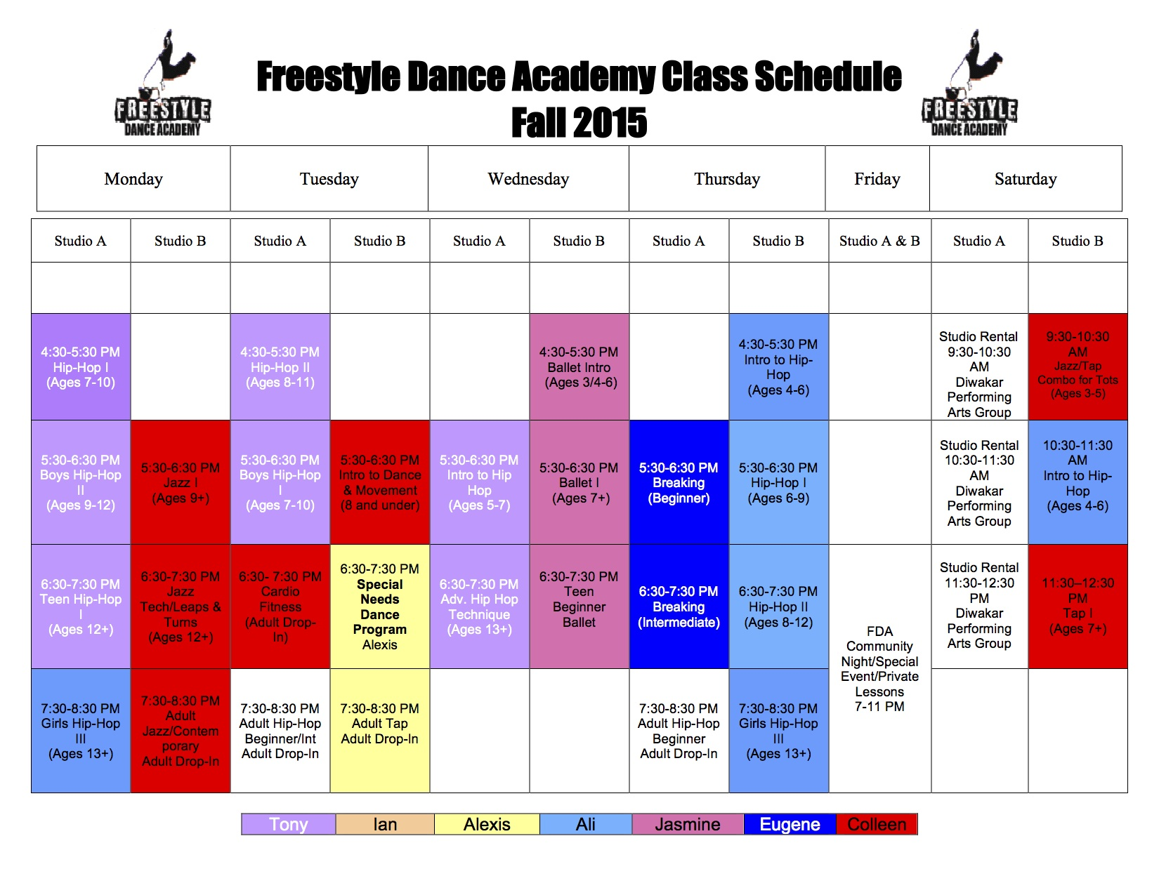 Fall 2015 Dance Class Schedule for Freestyle Dance Academy.