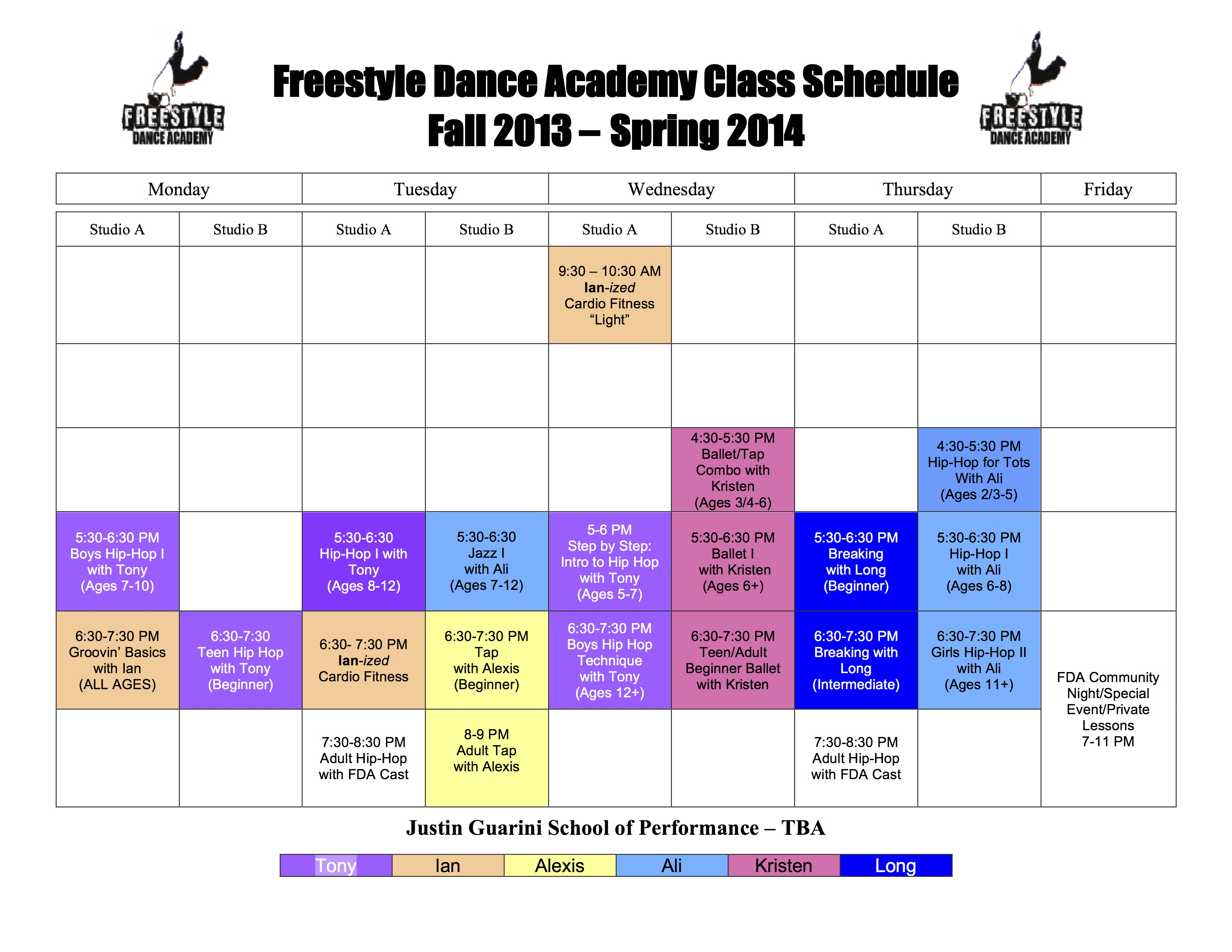 Freestyle Dance Academy 2013-2014 Fall & Spring Schedule