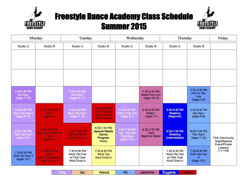 Freestyle Dance Academy 2015 Summer Dance Schedule - Summer Dance Classes for Warrington, Chalfont & Doylestown, PA.