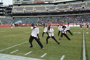 Tony Azzaro, Alison Potye, Freestyle Dance Academy performing at halftime at Lincoln Financial Field.
