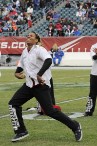 Ian Eagle Ashanti performing with Freestyle Dance Academy for the Temple football halftime.