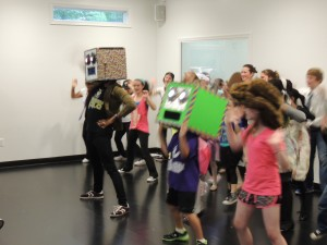 Mr. Ian, Frankie, and Nicole leading the Shuffle Bot Army at the end of the night!