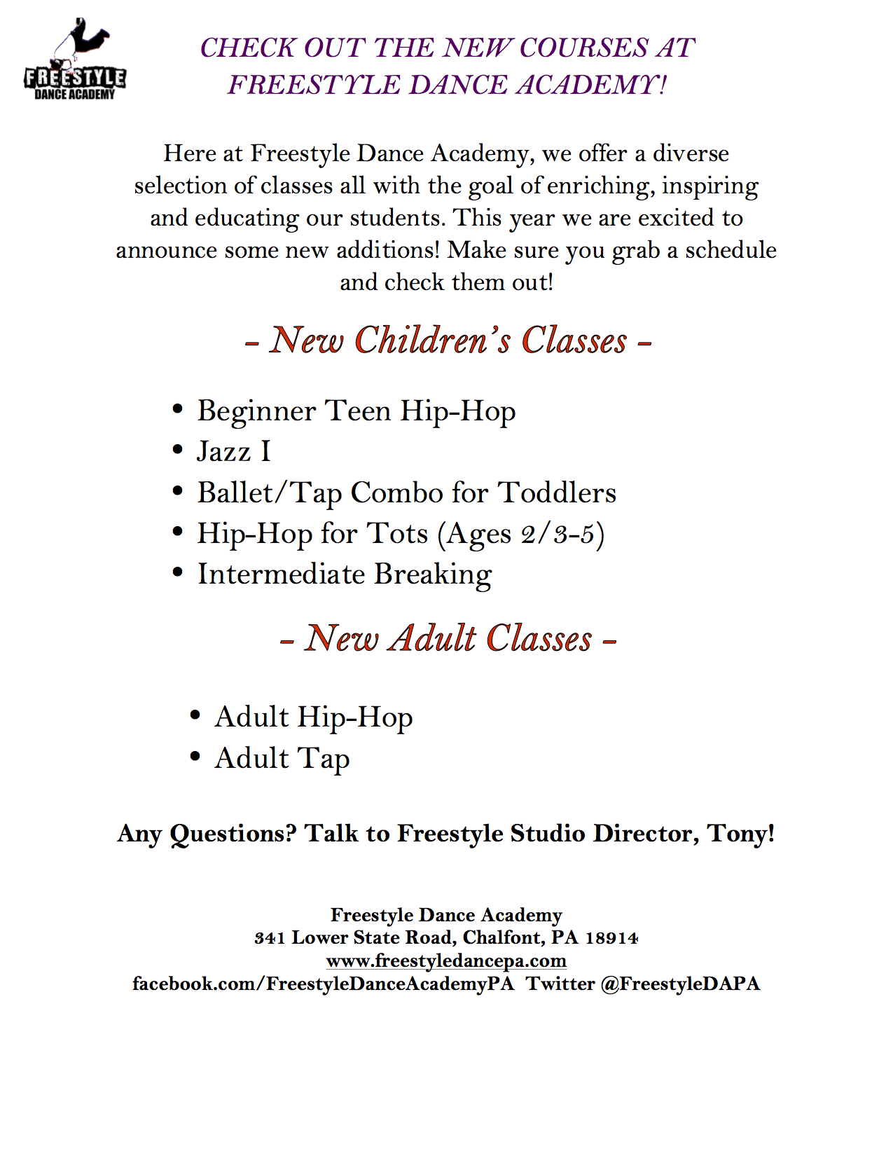 New classes at Freestyle Dance Academy for 2013.