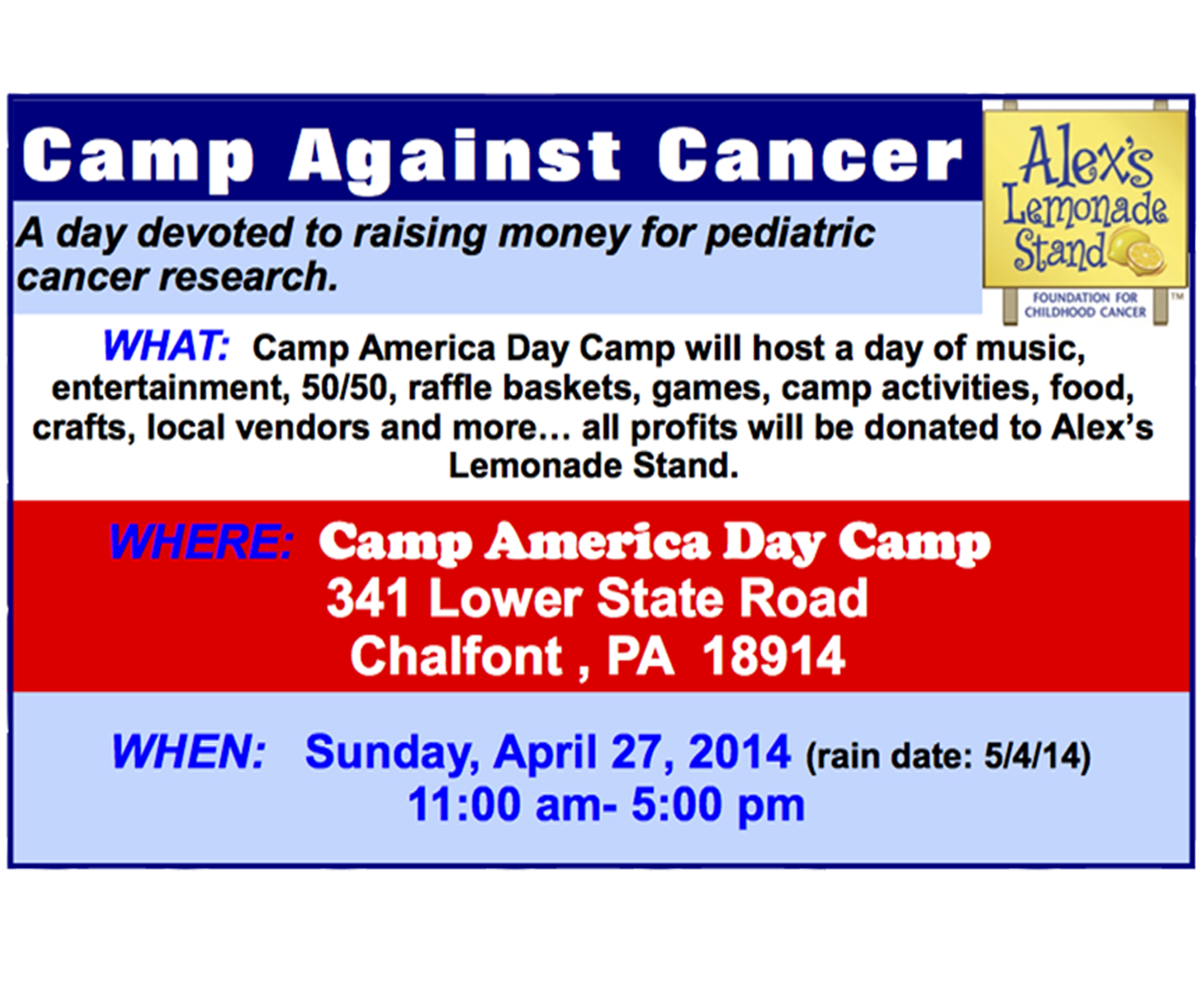 Camp America Day Camp & Alex's Lemonade Stand present: Camp Against Cancer