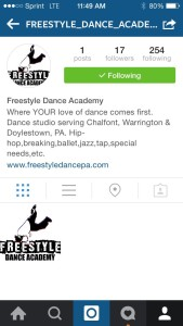 Freestyle Dance Academy Instagram profile page - dance studio