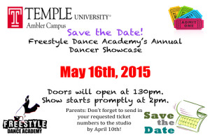 Save the Date for Freestyle Dance Academy's 2015 Dancer Showcase! - Freestyle Dance Academy Dance Classes for Warrington, Chalfont & Doylestown, PA.